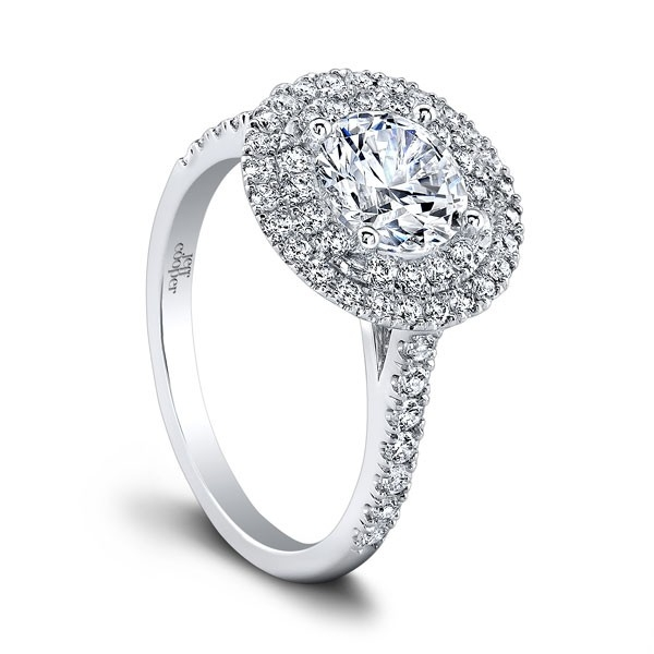 Jeff Cooper | 14K White Gold Pavé Double Halo Engagement Ring Setting | Style No. 001-730-01187 RP1626/R6.5C14