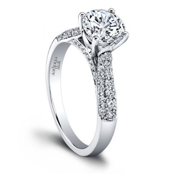 Platinum Pavé Diamond Setting | Jeff Cooper Engagement Ring | Style No. 001-730-01018 RP1500/6