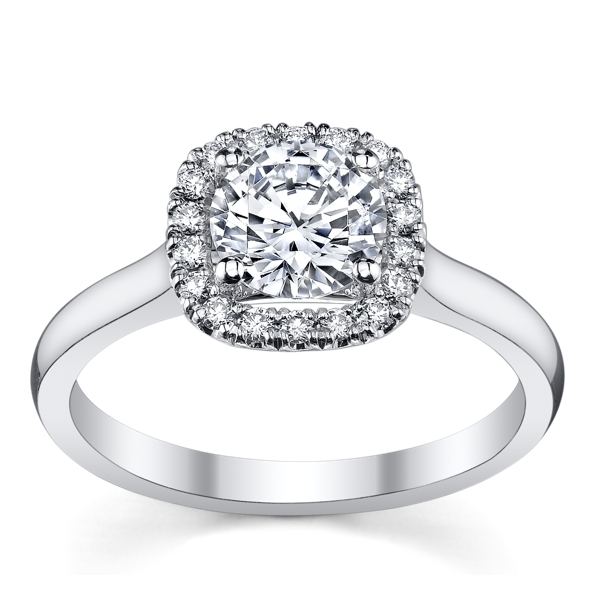 Jeff Cooper | 14K White Gold Cushion Halo Engagement Ring | Style No. 001-730-01352 RP1607/R5.2C14
