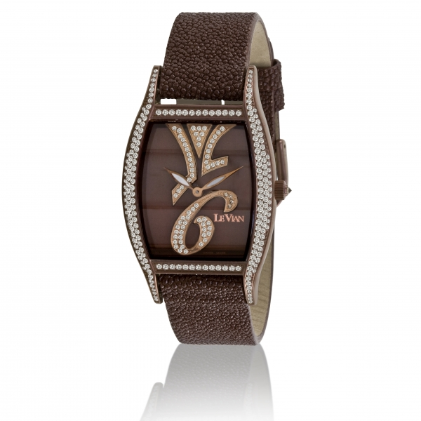 Le Vian Timepieces | Stainless Steel Le Vian Watch with Chocolate Diamonds on Brown Stingray Strap | Style No. 001-637-00003