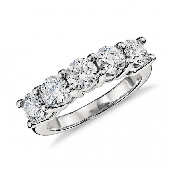 Forevermark | 14K White Gold Five Diamond Wedding Ring | Style No. 001-377-00121