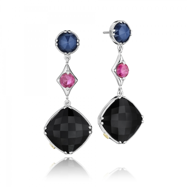 Tacori City Lights Collection | Black Onyx, Red Crystal & Blue Quartz Earrings | Style No. 001-761-00653 SE169353419