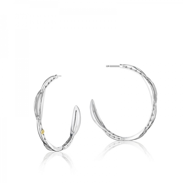 Tacori Ivy Lane Collection | Sterling Silver Hoop Earrings Engraved with Crescent Pattern | Style No. 001-761-00793 SE195