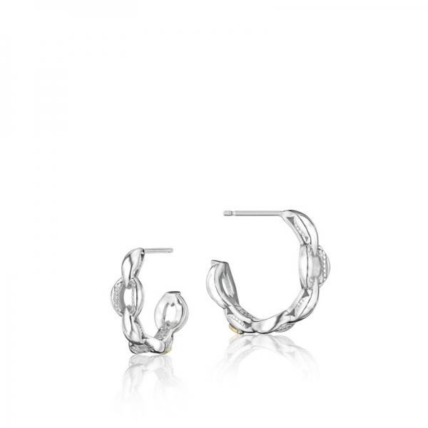 Tacori Ivy Lane Collection | Sterling Silver Crescent Engraved Link Hoop Earrings | Style No. 001-761-00790 SE197