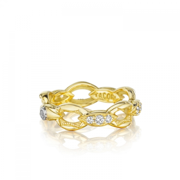 Tacori Ivy Lane Collection | Gold Crescent Stackable Ring with Prong Set Diamond Accents | Style No. 001-761-00778 SR184Y