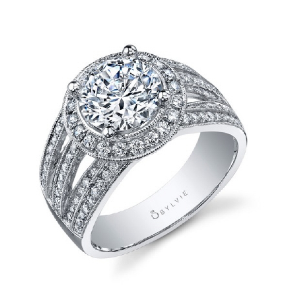 Sylvie | 14K White Gold Pavé Milgrain Halo Diamond Engagement Ring | Style No. 001-724-00046