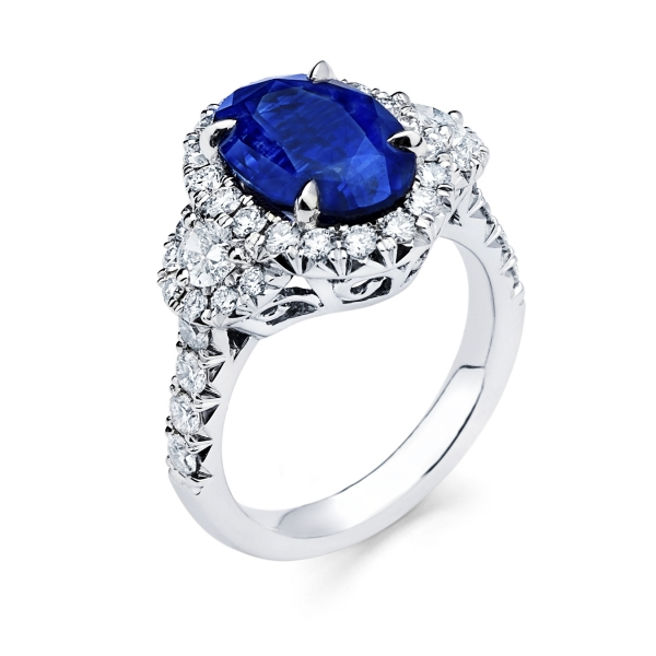 Platinum Sapphire Three Stone Fashion Ring