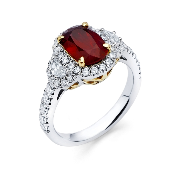 18k Two Tone 3 Stone Ruby Fashion Ring