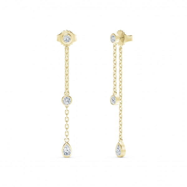 Forevermark Tribute Collection - The Forevermark Tribute Collection Round and Pear Diamond Drop Earrings - image 3