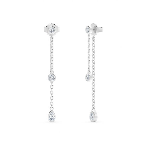 Forevermark Tribute Collection - The Forevermark Tribute Collection Round and Pear Diamond Drop Earrings - image 2