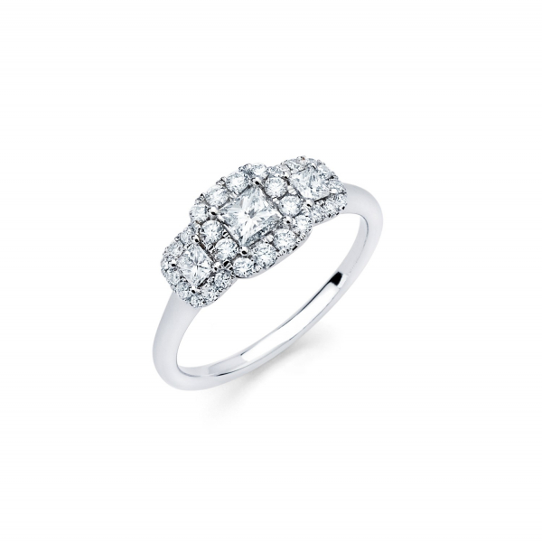 Three stone halo style engagement ring in white gold
