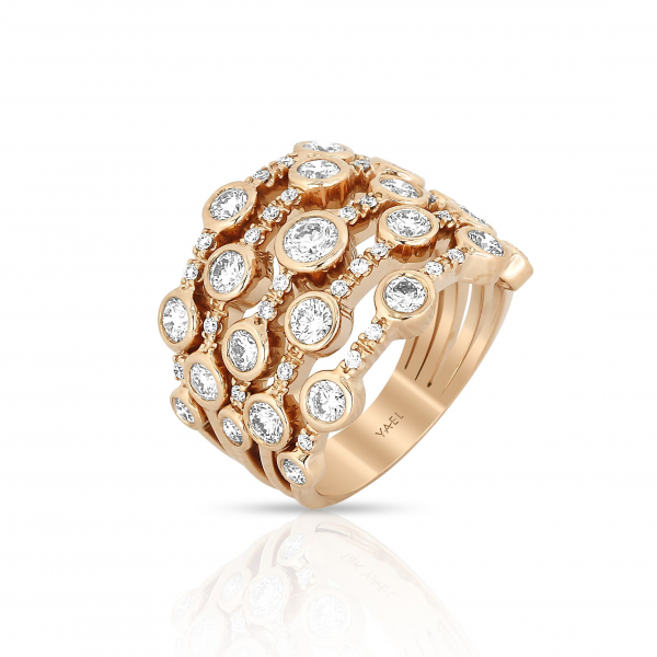 18k Rose Gold Cluster Diamond Ring