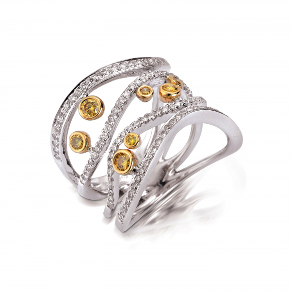 Two tone gold diamond ring with white and yellow diamonds