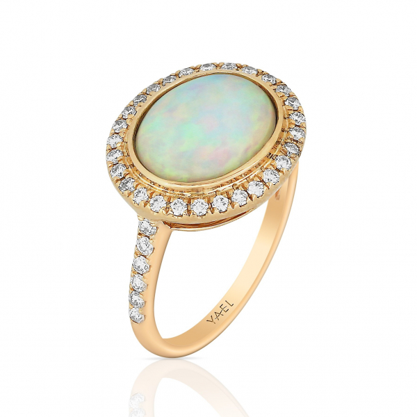 Opal and diamond fashion ring in 18k rose gold