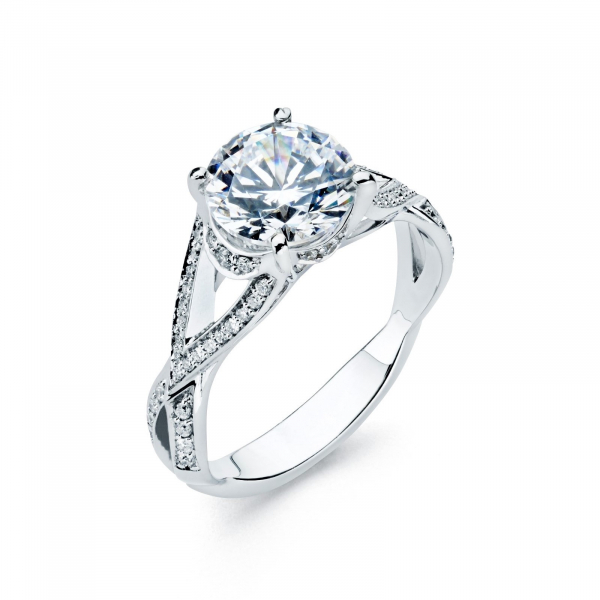 Solitaire diamond engagement ring in white gold