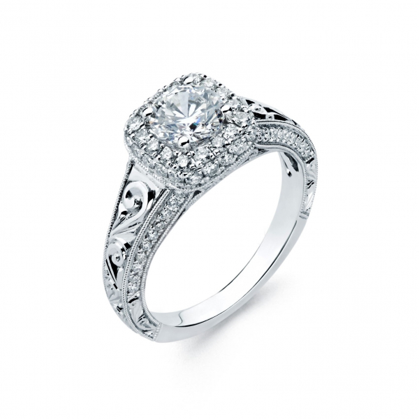 Vintage style halo diamond engagement ring in white gold
