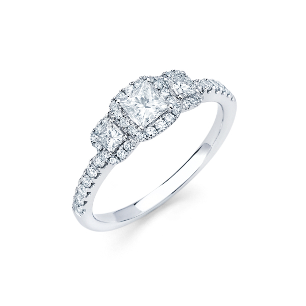 Three stone halo style diamond engagement ring
