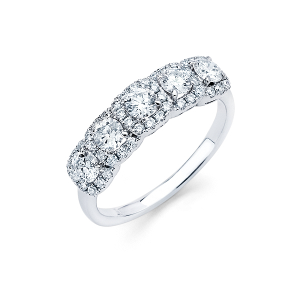 Five stone halo style diamond engagement ring