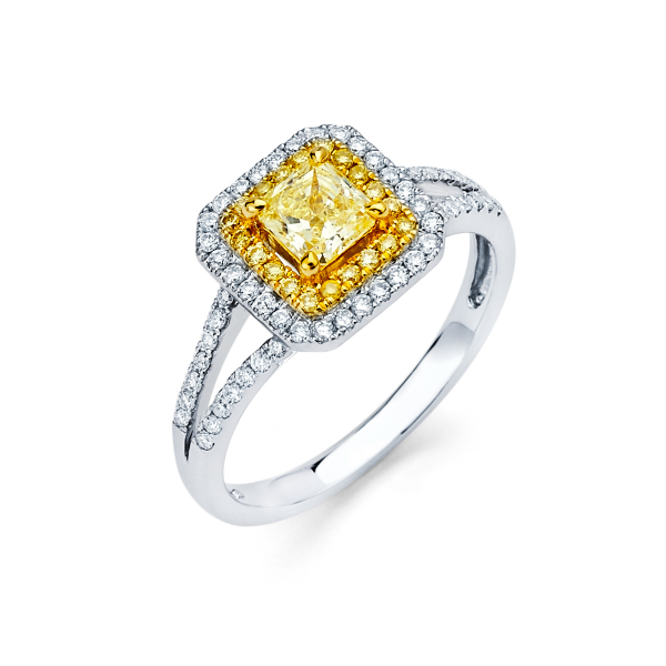Double halo diamond engagement ring featuring yellow diamond