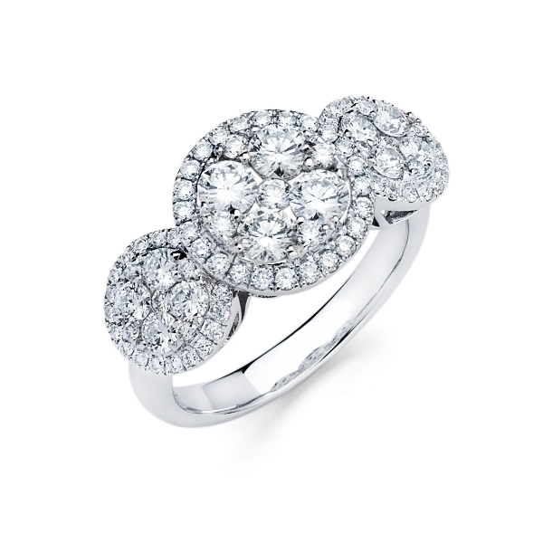 Halo style cluster diamond engagement ring in white gold