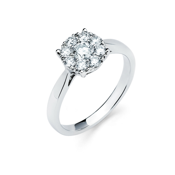 Cluster diamond engagement ring in white gold