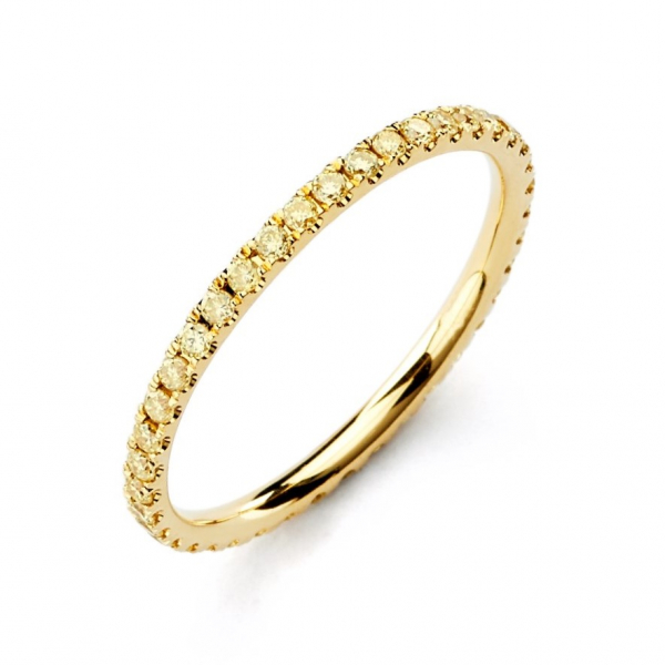 18k Yellow Gold Eternity Wedding Band with Yellow Diamonds