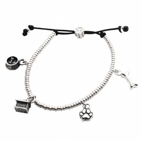 Silver charm bracelet featuring four charms on adjustable black cord