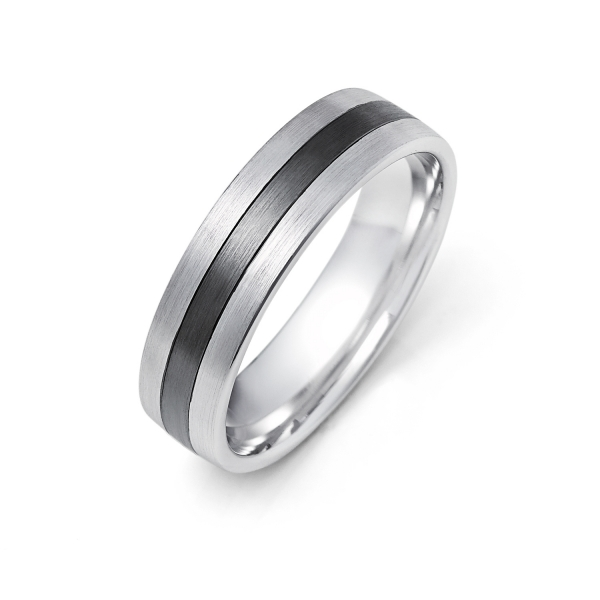 14k White Gold and Black Ruthenium Mens Wedding Band