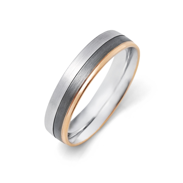 14k White and Rose Gold Wedding Band