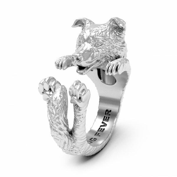 Border Collie Silver Hug Ring
