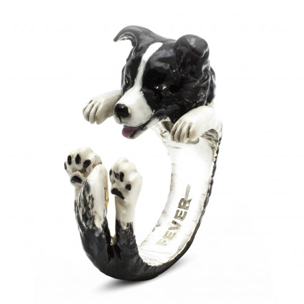 Border Collie Enamel Hug Ring
