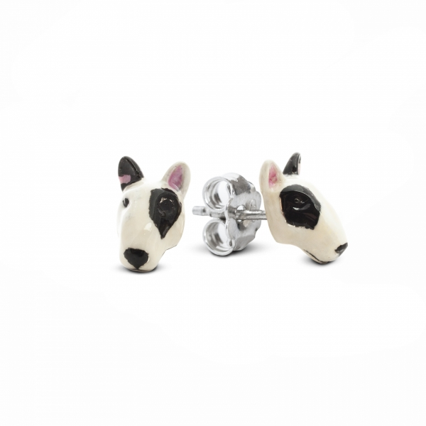 A pair of Bull Terrier Enamel Stud Earrings