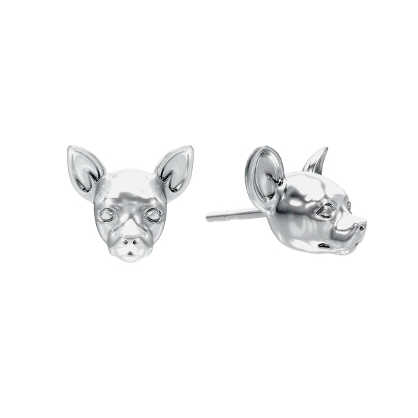 A pair of Chihuahua Silver Stud Earrings