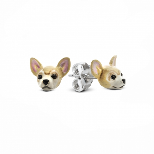 A pair of Chihuahua Enamel Stud Earrings