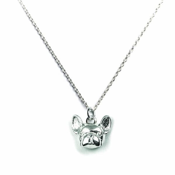 French Bulldog silver pendant on a link chain