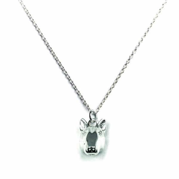 Bull Terrier Silver Pendant on a link chain
