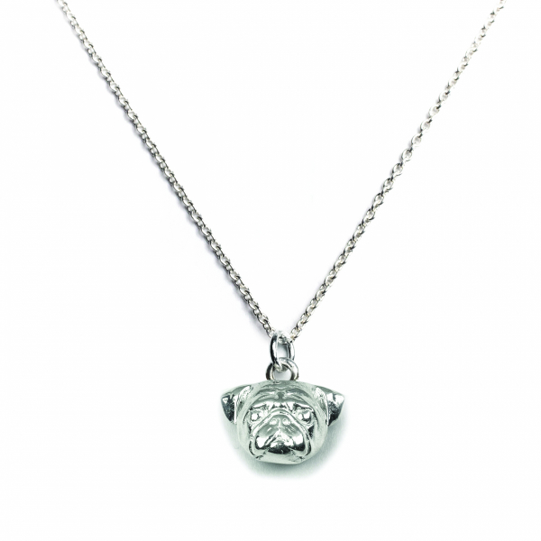 Pug silver pendant on a link chain