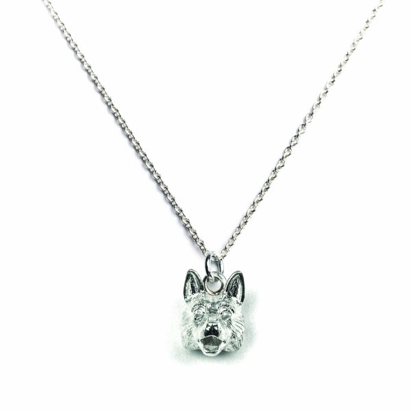 German Shepherd silver pendant on a link chain