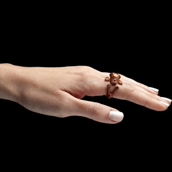 Dogue De Bordeaux Enamel Hug Ring on Hand