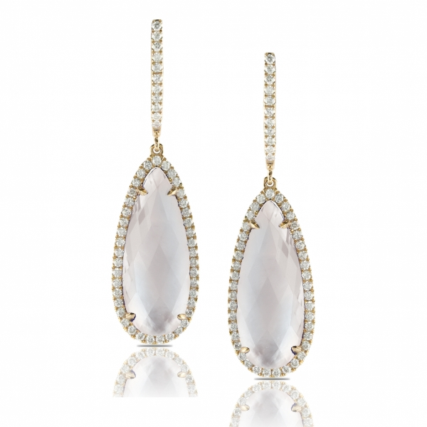 Lady's 18 karat white gold drop earrings featuring Mother of Pearl surrounded by a diamond halo