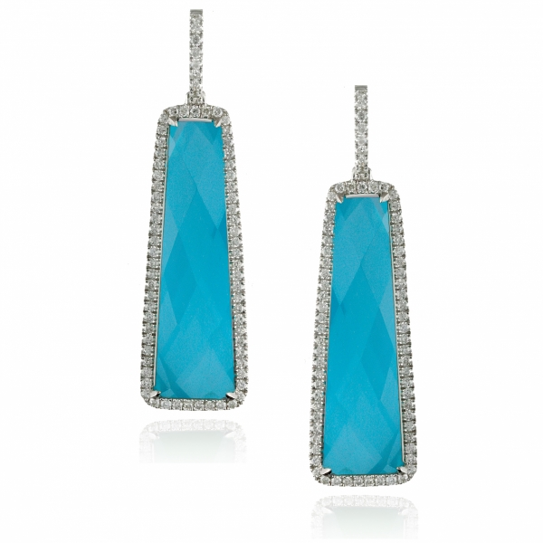 18k White Gold Turquoise Drop Earrings
