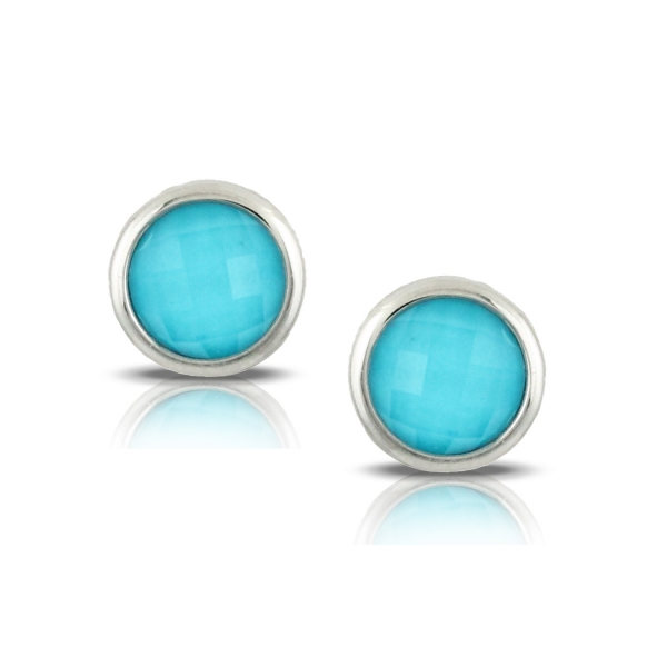 18k White Gold Turquoise Stud Earrings