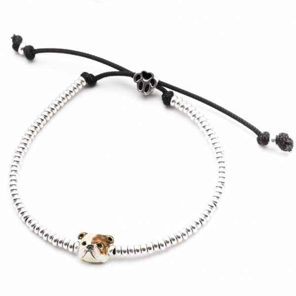 Enamel English Bulldog Head Bracelet