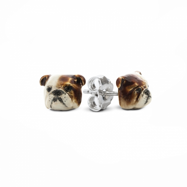 A pair of Enamel Stud Earrings featuring English Bulldog
