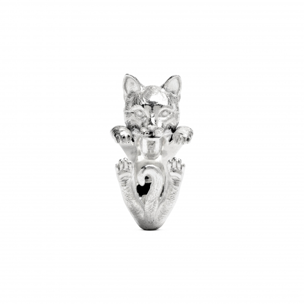 Cat Fever - European Silver Hug Ring - image #2