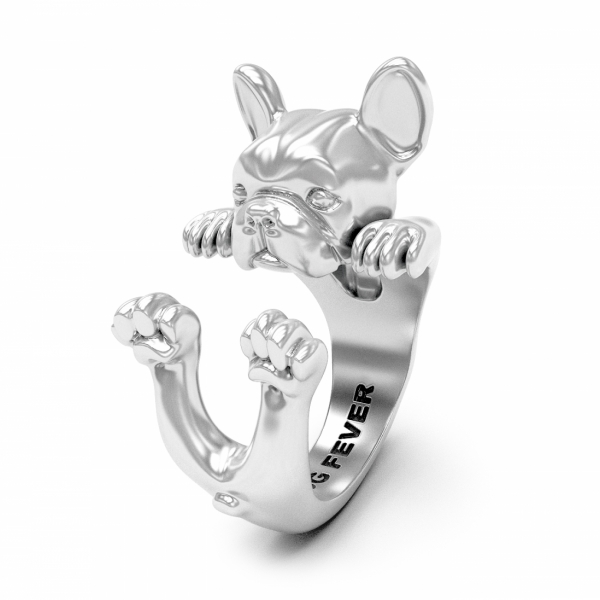 French Bulldog Silver Hug Ring