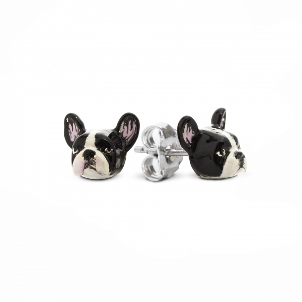A pair of Enamel Stud Earrings featuring French Bulldog