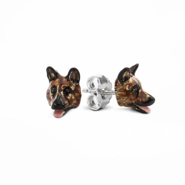 A pair of German Shepard Enamel Stud Earrings