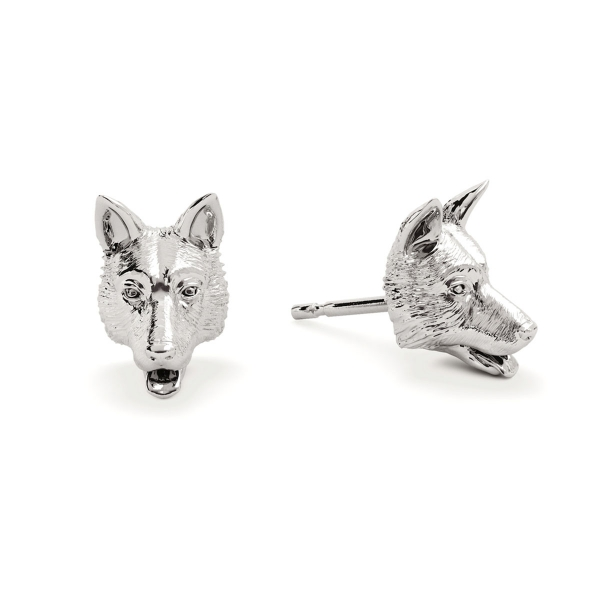 German Shepard Silver Stud Earrings
