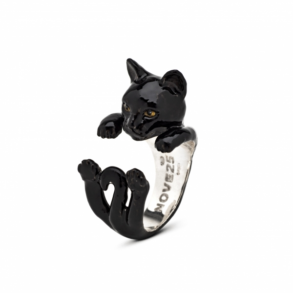 Cat Fever - European Black Enamel Hug Ring